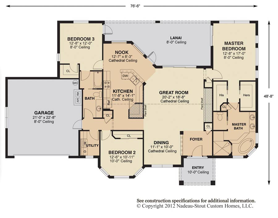 Antigua signature floor plan nadeau stout custom homes ocala fl - Home plans with large kitchens ...