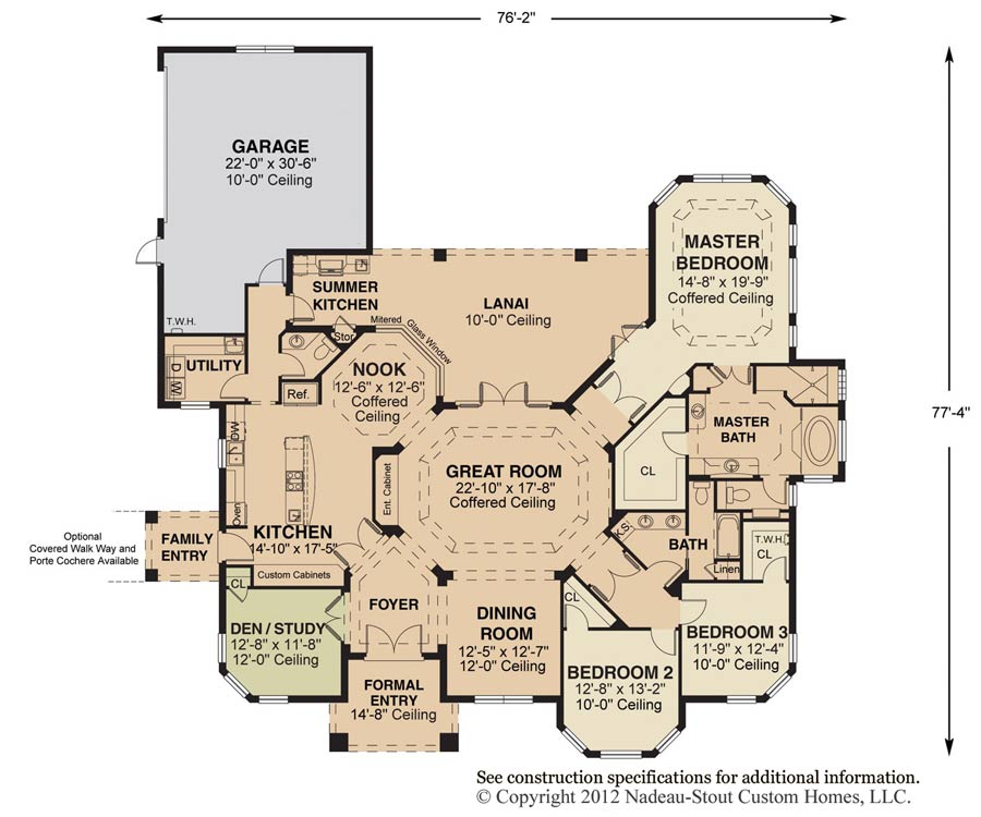Charleston Floor Plan Nadeau Stout Custom Homes Ocala Fl