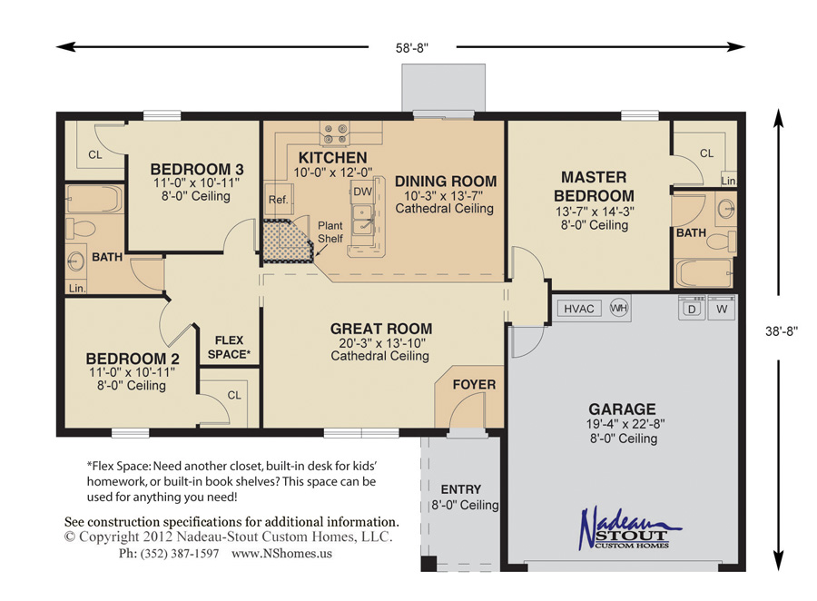 Crystal Floor Plan Nadeau Stout Custom Homes Ocala FL