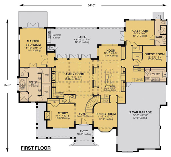 Savannah floor plan custom home design for Custom luxury home designs